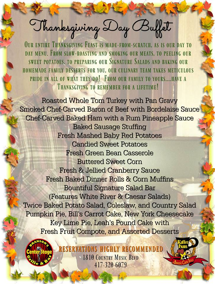 Branson Center Stage Thanksgiving Menu