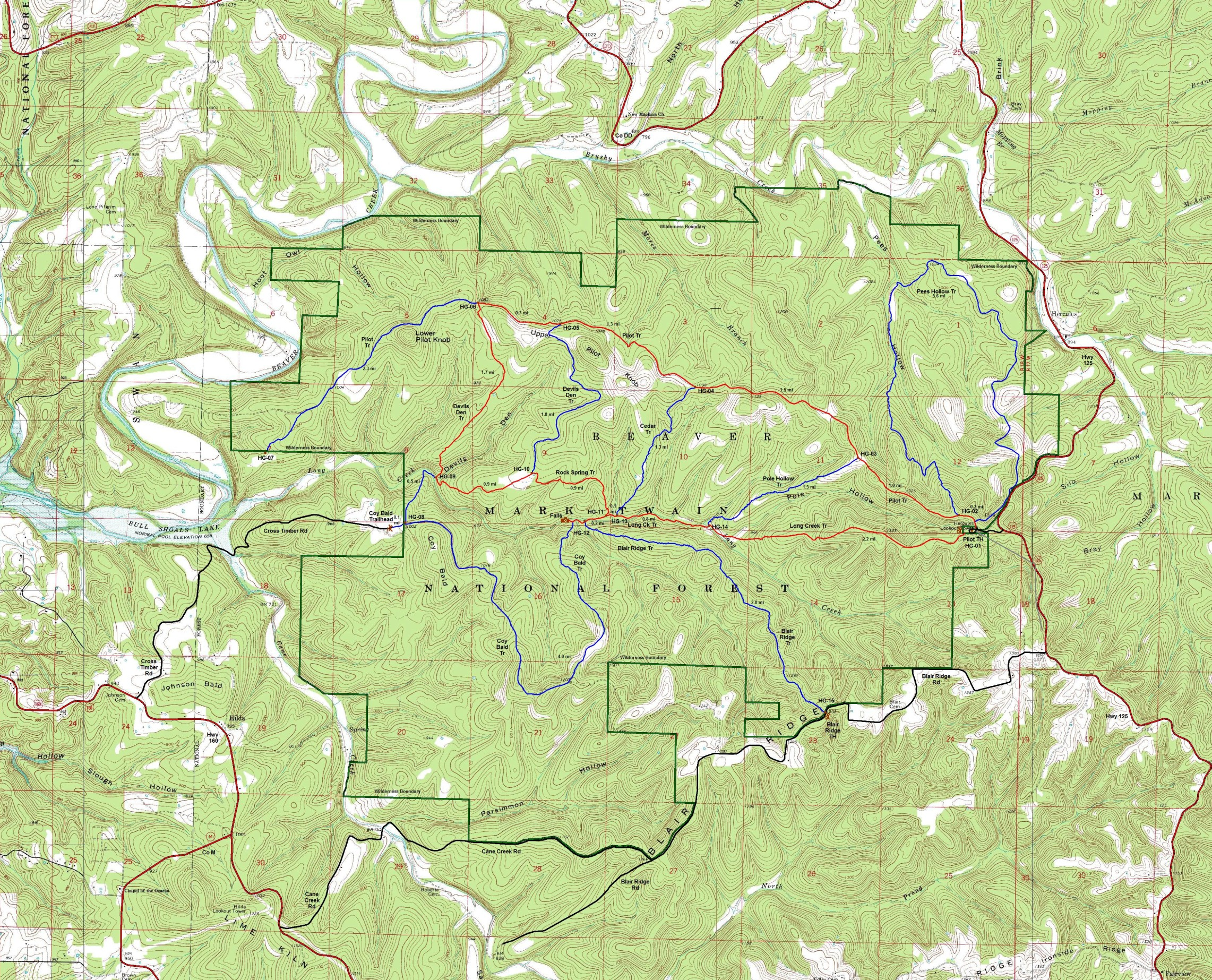 Hercules Gladed Wilderness area map